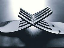 与叉子的概念性摄影 库存图片
