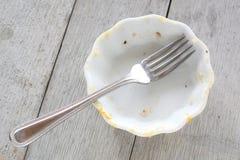 与叉子的空的盘 免版税库存图片