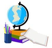 与及早学会书的教育的地球 库存例证