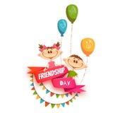 与友谊天标题的红色丝带,孩子 免版税库存图片