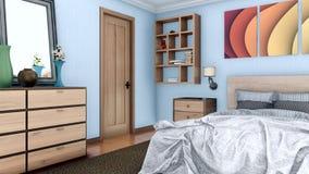 与双人床3D动画的卧室内部 皇族释放例证