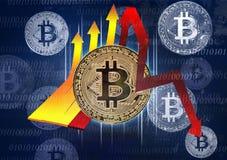 与双的Bitcoin签到蓝色背景和崩溃概念 库存照片