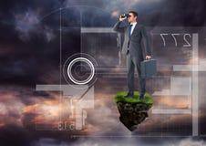 与双筒望远镜的商人在有未来派接口的浮动岩石平台在天空 免版税库存图片