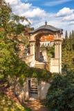 与双重楼梯的Gloriette在Furstenberg庭院里 免版税库存照片