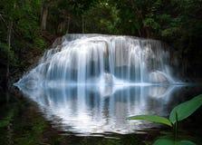 与反射的光滑和柔滑的美丽的瀑布在水中 库存照片
