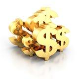 与反射的几个金黄美元货币符号 免版税库存照片