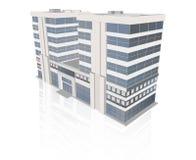 与反射的现代办公楼在白色背景 图库摄影
