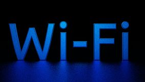 与反射的蓝色题字在地板上 Wi-Fi 图象例证 3d回报 图库摄影