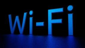与反射的蓝色题字在地板上 Wi-Fi 图象例证 3d回报 免版税图库摄影