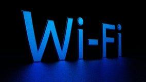 与反射的蓝色题字在地板上 Wi-Fi 图象例证 3d回报 库存照片