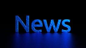 与反射的蓝色题字 新闻 图象例证 3d翻译 背景 图库摄影