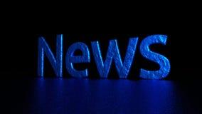 与反射的蓝色题字 新闻 图象例证 3d翻译 背景 库存图片