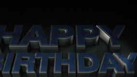 与反射的金属3D文本生日快乐 向量例证