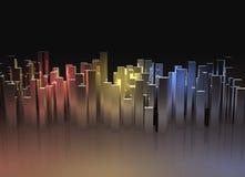 与反映的抽象城市光 库存照片