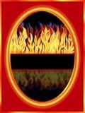 与反映的燃烧的火 库存图片