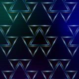 与发光多彩多姿的三角的抽象蓝色背景 免版税库存照片