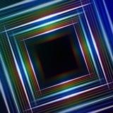 与发光多彩多姿的正方形的抽象蓝色背景 免版税库存图片