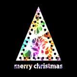 与发光激光圈子的简单的圣诞树 免版税库存图片