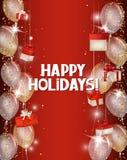 与发光的五彩纸屑、红色礼物盒和气球的假日背景 库存图片