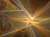 与发光的光芒和弯曲的细丝的黄色抽象分数维 免版税库存照片