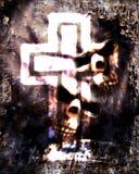 与发光的十字架的可怕背景 库存照片