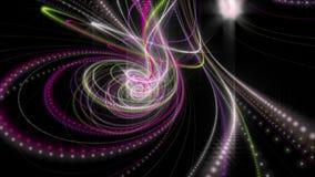 与发光的微粒条纹对象的未来派动画在慢动作, 4096x2304圈4K