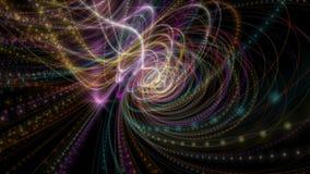 与发光的微粒条纹对象的未来派动画在慢动作, 4096x2304圈4K 股票视频