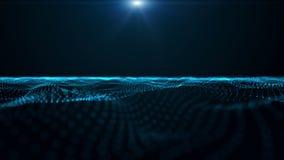 与发光的微粒波浪对象的未来派动画在慢动作, 4096x2304圈4K 库存例证
