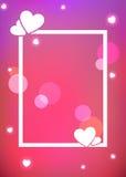 与发光的心脏的浪漫背景 向量例证