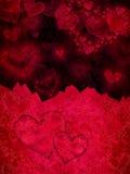 红色和黑情人节卡片 免版税图库摄影
