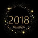 与发光的新年快乐背景点燃在黑背景的文本2018年 向量 库存例证