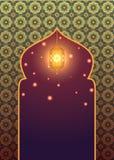 与发光的灯笼的伊斯兰教的背景 向量例证