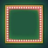 与发光的电灯泡的方形的框架 库存图片