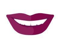 与发光的白色牙传染媒介的妇女s微笑 免版税库存图片