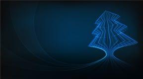 与发光的线抽象例证的蓝色圣诞树设计 免版税库存照片