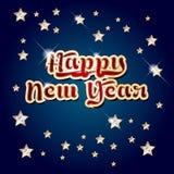 与发光的词新年快乐和金黄星的蓝色背景 免版税库存图片