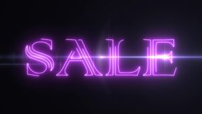 与发光的轻的光学火光动画的桃红色激光霓虹销售文本在黑背景-新的质量减速火箭的葡萄酒 库存例证