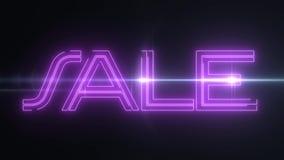 与发光的轻的光学火光动画的桃红色激光霓虹销售文本在黑背景-新的质量减速火箭的葡萄酒 皇族释放例证