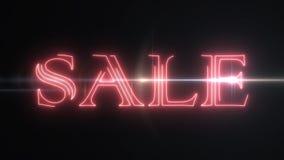 与发光的轻的光学火光动画的红色激光霓虹销售文本在黑背景-新的质量减速火箭的葡萄酒迪斯科 库存例证