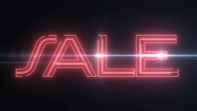 与发光的轻的光学火光动画的红色激光霓虹销售文本在黑背景-新的质量减速火箭的葡萄酒迪斯科 皇族释放例证