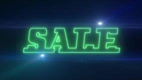 与发光的轻的光学火光动画的绿色激光霓虹销售文本在黑背景-新的质量减速火箭的葡萄酒 皇族释放例证
