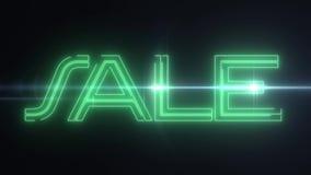 与发光的轻的光学火光动画的绿色激光霓虹销售文本在黑背景-新的质量减速火箭的葡萄酒 向量例证