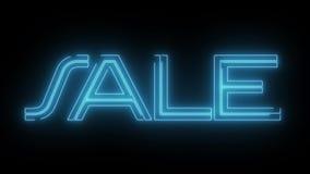 与发光的轻的光学火光动画的蓝色激光霓虹销售文本在黑背景-新的质量减速火箭的葡萄酒 库存例证