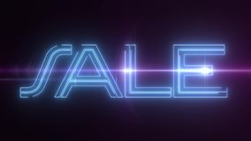 与发光的轻的光学火光动画的蓝色激光霓虹销售文本在黑背景-新的质量减速火箭的葡萄酒 皇族释放例证