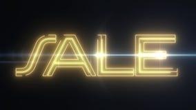 与发光的轻的光学火光动画的黄色激光霓虹销售文本在黑背景-新的质量减速火箭的葡萄酒 皇族释放例证