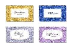 与发光的闪烁纹理的卡片模板 名片,礼品券, VIP卡片 也corel凹道例证向量 库存图片