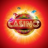 与发光的霓虹灯信件的赌博娱乐场例证和在红色背景的轮盘赌的赌轮 党的传染媒介赌博的设计 向量例证