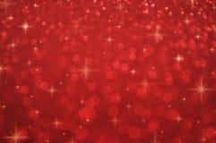 与发光的满天星斗,新年概念的红色迷离光 向量例证