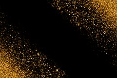 与发光的Defocused金子闪烁激发在黑背景的光 3d美国看板卡上色展开标志问候节假日信函国民形状范围 免版税图库摄影