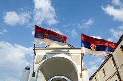 与发怒和塞尔维亚旗子的塔 免版税图库摄影